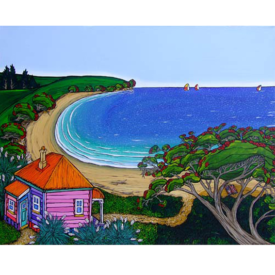 Holiday painting by New zealand artist Fiona Whyte, NZ Art