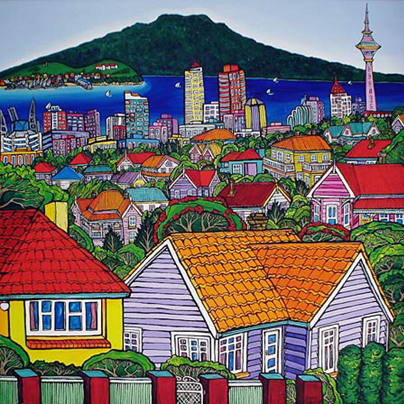 Rangitoto, Auckland Sky Tower, Auckland City painting by New zealand artist Fiona Whyte, NZ Art