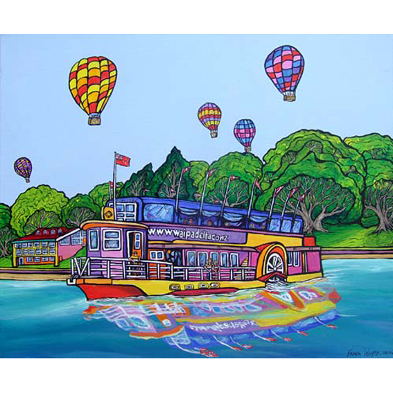 Hot Air Balloons, Celebration painting by New zealand artist Fiona Whyte, NZ Art