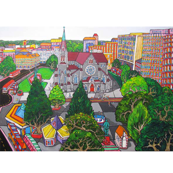 Christchurch Cathedral painting by New zealand artist Fiona Whyte, NZ Art