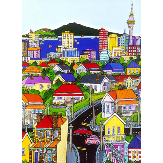 Auckland Views painting by New zealand artist Fiona Whyte, NZ Art