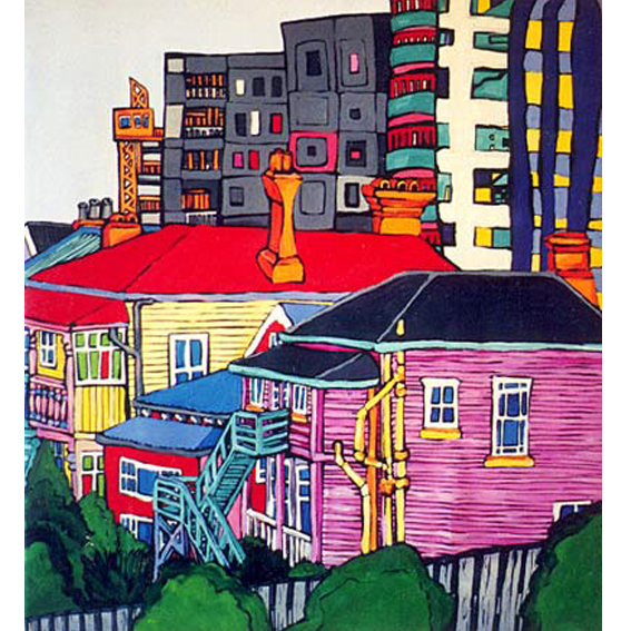 city life painting by New zealand artist Fiona Whyte, NZ Art