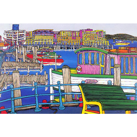 Harbour painting by New zealand artist Fiona Whyte, NZ Art
