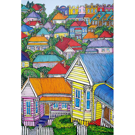 city painting by New zealand artist Fiona Whyte