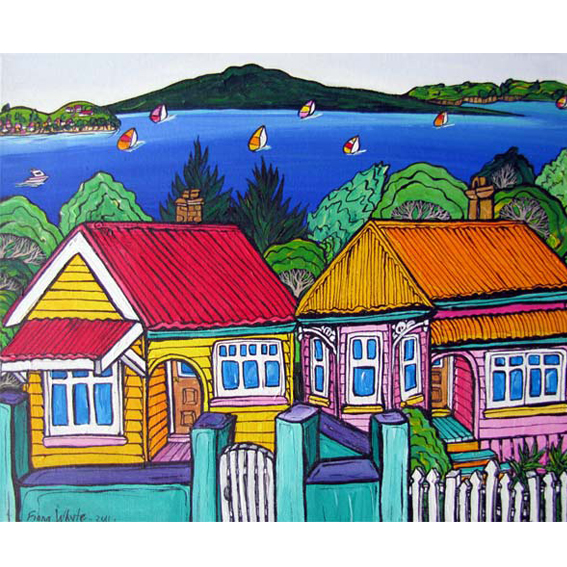 Sea View painting by New zealand artist Fiona Whyte, NZ Art