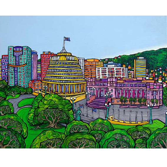 the Beehive Wellington painting by New zealand artist Fiona Whyte, NZ Art