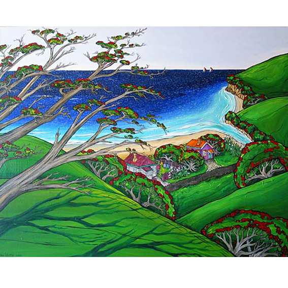 NZ Beach, Just the 2 of us painting by New zealand artist Fiona Whyte, NZ Art