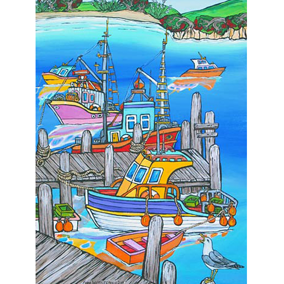 seagull and boats painting by New zealand artist Fiona Whyte, NZ Art