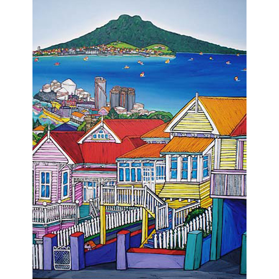 Ponsonby painting by New zealand artist Fiona Whyte, NZ Art