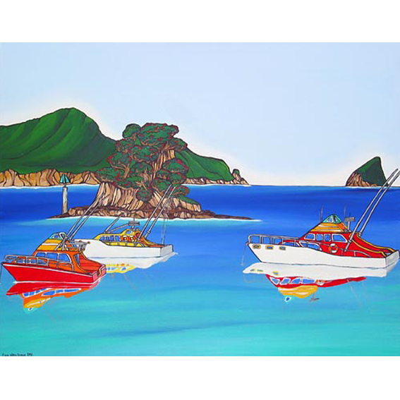 Boating painting by New zealand artist Fiona Whyte, NZ Art