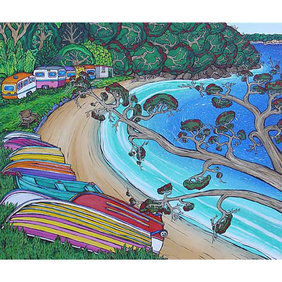 Dinghys painting by New zealand artist Fiona Whyte, NZ Art
