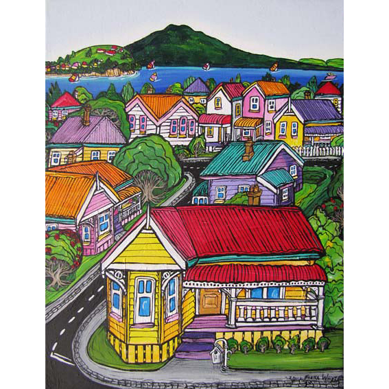 Yellow House painting by New zealand artist Fiona Whyte, NZ Art
