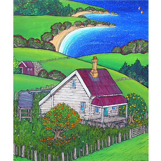 Farm land painting by New zealand artist Fiona Whyte, NZ Art