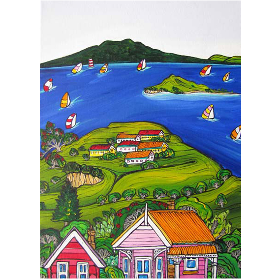 Rangitoto, Auckland painting by New zealand artist Fiona Whyte