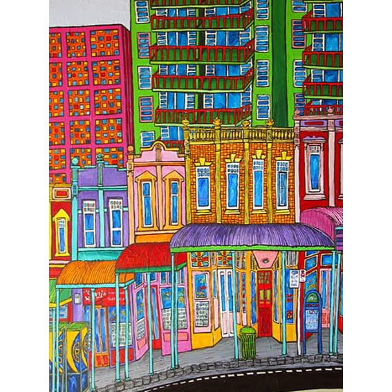 Queens St, Auckland painting by New zealand artist Fiona Whyte, NZ Art