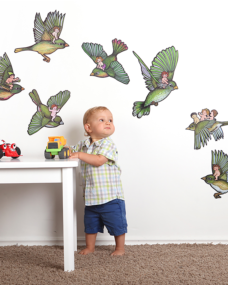 Bird Wall Stickers illustrated by New Zealand artist Fiona Whyte